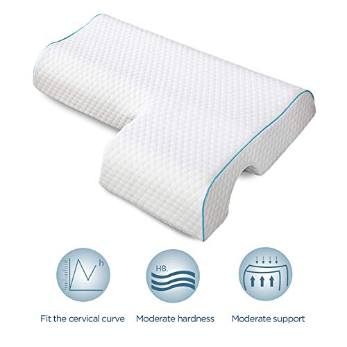 VUE Couples Pillow, Upgrade Arched Cuddle Pillow with Slow Rebound Memory Foam for Arm Rest, Anti Pressure Hand Pillow for Couples Sleeping (Water Cube, Right)