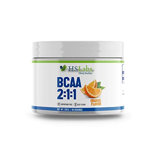 HSLabs BCAA 2 1 1 Powder Amino Drink Amino Acids Complex High Dose Drink with Leucine Isoleucine Valine Great Taste and Neutral Unflavoured 400g 200g 40 80 Servings (Orange, 200g)