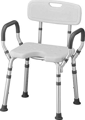 NOVA Medical Products Shower & Bath Chair with Back & Arms & Hygienic Design, White, 1 Count