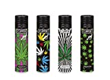 Clipper 4 X Electronic Jet Lighters Herb Leaves Deign limited iHATS LONDON UK Collection