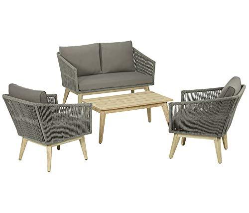 Dehner Loungegruppe Verona, 4-teilig, FSC-Akazienholz/Textilene, grau/braun, inkl. Polster