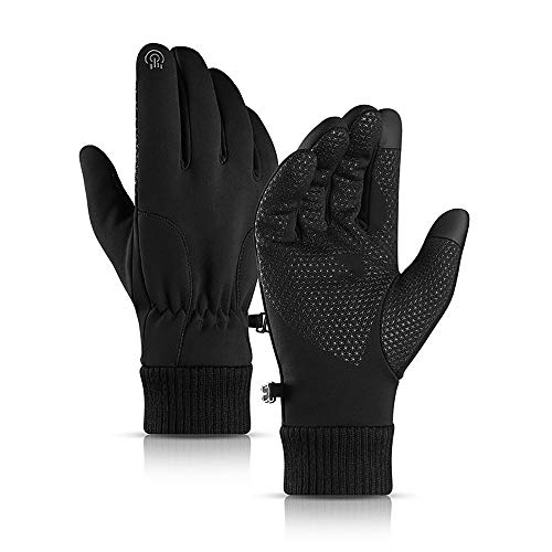 JTIAN Unisex Winter Gloves Windproof Cycling Gloves Running Gloves Touch Screen Anti-slip Driving Gloves, Anti-slip Grip - Elastic Cuff - Warm Lining - Stretchy Material (Black,M)
