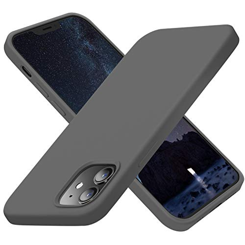 Cordking Designed for iPhone 12 Case, Designed for iPhone 12 Pro Case, Silicone Slim Shockproof Phone Case Cover with [Soft Anti-Scratch Microfiber Lining] 6.1 inch, Space Gray