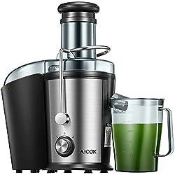 Entsafter Gemüse und Obst, AICOK 75MM Edelstahl Entsafter, 800W Zentrifugal Entsafter mit Anti-Tropf-Funktion und Überhitzungsschutz inkl, Geräuschloser Motor, BPA-Frei, Rutschfeste Füße