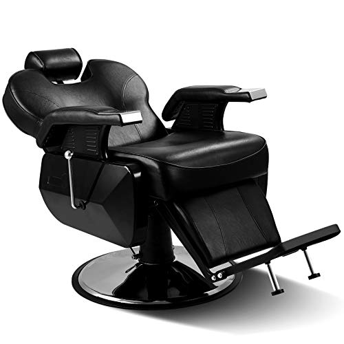 Black All Purpose Hydraulic Recline Barber Chair with Free Hair Styling Comb Set Salon Beauty Styling Chair for Beauty Shop