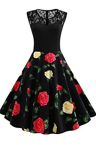 Axoe Damen 60er Jahre Kleid Festkleider Abendkleider Elegante für Hochzeit Gr.44