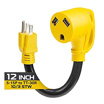 Iron Forge Cable 15 Amp to 30 Amp RV Adapter - 10/3 STW 5-15P Male Plug to TT-30R Female Yellow