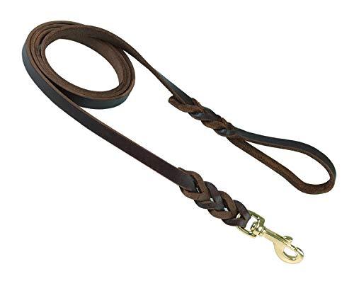 JUPUDA Genuine Leather Braided Dog Leash Full Grain Heavy Duty Training Dog Leash
