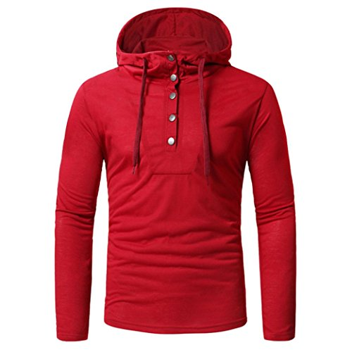 Wintialy Fashion Men's Autumn Fastener Long Sleeved Hoodie Sweatshirts Top Blouse Red