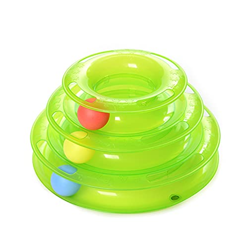 JSFL 2 PCS Funny Cat Pet Toy Toy Toy Toys Intelligence Triple Play Disc Cat Toy Balls Ball Toys Mascotas 0611 (Color : Green)