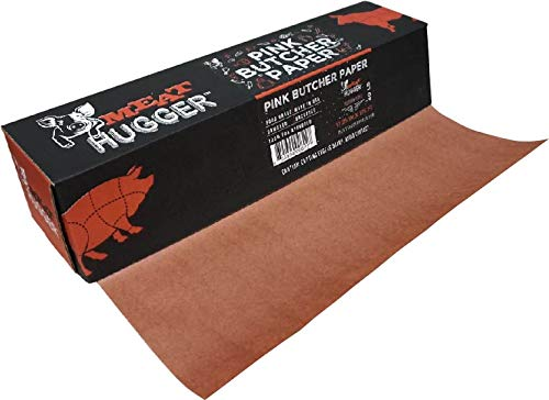 Pink Butcher BBQ Paper Dispenser Box (17.25 Inch by 175 Feet Roll) - Food Grade Peach Wrapping Paper for Smoking Beef Brisket Meat Texas Style, All Natural and Unbleached