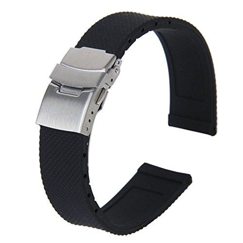 TOOGOO (R), cinturino per orologio da polso in silicone, in stile sportivo e impermeabile, colore nero, con chiusura pieghevole da 20mm