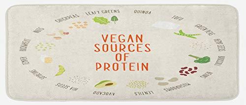 ABAKUHAUS Vegetariano Tapete para Cocina, Las Fuentes vegetarianas de proteína, con Superficie de Felpa Estampada Dorso Antideslizante, 48 cm x 120 cm, Multicolor