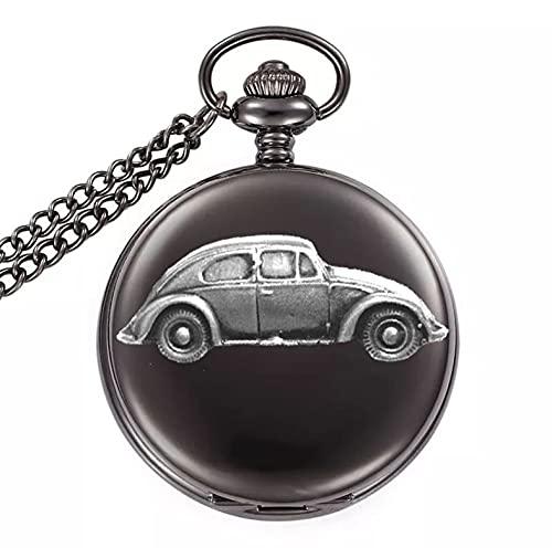 Escarabajo Oval Ventana Trasera Ref291.PSD Diseño Efecto Peltre en una Caja Negra Pulida Reloj de Bolsillo de Cuarzo para Hombre
