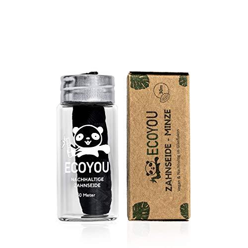 EcoYou® Zahnseide nachhaltig aus Bambus-Aktivkohle im plastikfreien & wiederverwendbaren Glas-Flakon - vegan & reißfeste mit Mint Geschmack - Umweltfreundliche Zahnreinigung