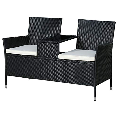 Outsunny 2 Seat Rattan Wicker Chair Bench with Tea Table Padded Seat- Black