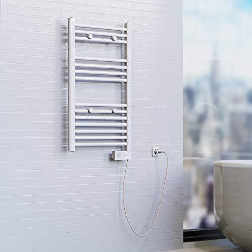 EISL BHKWZ0 Badheizkörper, Handtuchwärmer, Handtuchheizkörper, elektrisch mit Heizstab und Zeitschaltuhr, 50 x 80 cm,Weiß