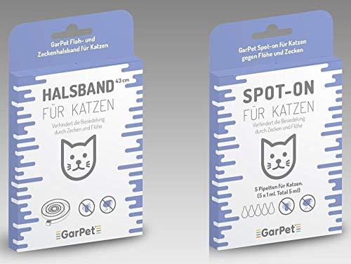 GarPet Katzen Spot-On + Halsband gegen Flöhe Zecken Floh Schutz Mittel Ungeziefer