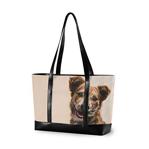 Friendly Pet Dog Laptop Bag for Women Canvas Messenger Bag Business Office School Computer Bag for 15.6 Inch Laptop & Tablet Professional Large Capacity Briefcase Handbag Shoulder Bag