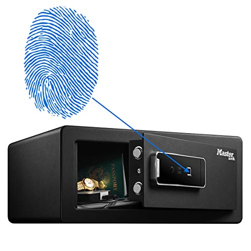 Master Lock LX110BEURHRO Biometrischer Tresor mit Fingerabdruck, Schwarz, 19,5 x 43 x 37 cm