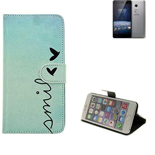 K-S-Trade® Schutzhülle Für TP-LINK Neffos X1 Lite Hülle Wallet Case Flip Cover Tasche Bookstyle Etui Handyhülle ''Smile'' Türkis Standfunktion Kameraschutz (1Stk)