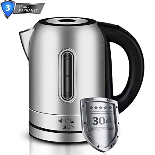 1500W Automatic Electric Kettle(BPA-Free)with Temperature Controls, 304 Stainless Steel 1.7 Liter Cordless Fast Boil Tea Kettle with OTTER Thermostat Tech, Auto Shut-Off and Boil Dry Protection, Easy to Clean by CHEW FUN