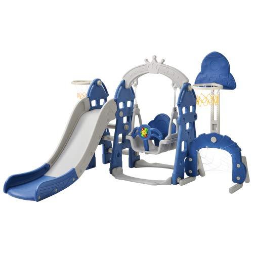 U-Kiss Baby Rutsche Kleinkinderrutsche, 170cm Lange Rutschbahn, 5 in1 multifunktionale Kleinkinderrutsche mit Basketballkorb,Fußballtor,Schaukel, Kletterturm,für 2-8 Jahre Kinder - Blau