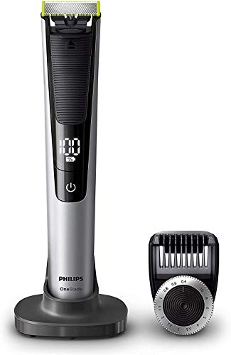 Philips QP6520/30 OneBlade Pro - Recortador de barba con peine de precisión de 14 longitudes y base de carga, recorta, perfila y afeita, recargable