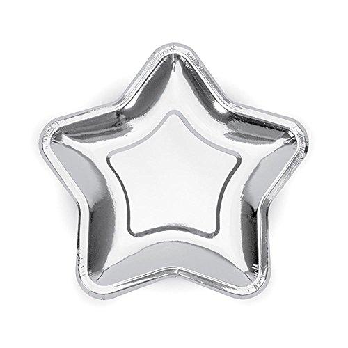 PartyDeco TPP11-018 CF 6 assiettes en forme d'étoile, argent