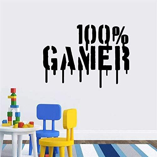 Calcomanía de jugador tallada Creativa 100% Gamer Efecto de gota de sangre Vinilo Adhesivo de pared Papel tapiz Niños Niños Puerta de la sala de juegos Decoración del dormitorio Arte mural Póster