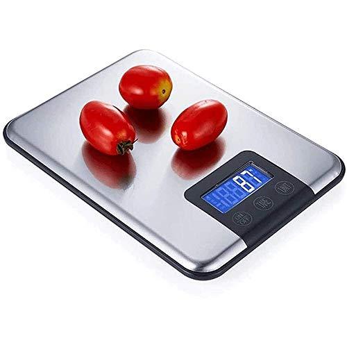 YIBOKANG Escala de Cocina Digital, Escamas electrónicas de Acero Inoxidable Delgado, báscula para Hornear Alimentos, Cocina casera y Hornear, Plata 15kg / 1g