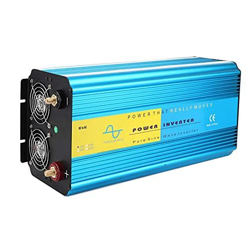 Inversor de potencia, LCD USB inversor de corriente Super Power Pure Sine Wave 2 enchufes universales Dual Fan Car Plug Converter para disipación de calor 8000W