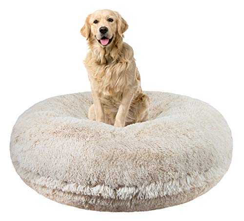 Bessie and Barnie Signature Blondie Luxury Shag Extra Plush Faux Fur Bagel Pet / Dog Bed (Multiple...