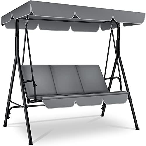 KESSER® Hollywoodschaukel 3-Sitzer Gartenschaukel 250kg belastbar mit abnehmbarem Dach & Sitzauflage Verstellbares Sonnendach, Gartenliege...