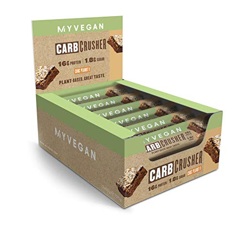 MyVegan Nut-Free Peanut Butter Carb Crusher Vegan Protein Bars with 15g of Plant Based Protein. Healthy Snack That is Great Tasting and Low in Sugar. High Protein Bar Pack of 12x 60g