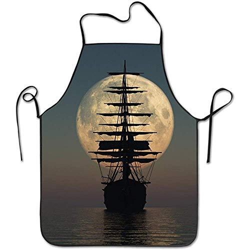 Nancyint Segelschiffe Silhouette verstellbare Schürze für Küche BBQ Barbecue Kochen Lady 's Men' s großes Geschenk für Frau Ladies Men Boyfriend