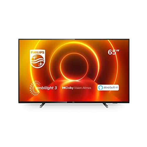 Philips TV 65PUS7805/12 65 Zoll Fernseher mit Ambilight und Sprachsteuerung (4K UHD LED TV, HDR10+, Dolby Vision, Dolby Atmos, Saphi Smart TV) - Rahmen Grau, Standfuß Silber [Modelljahr 2020]