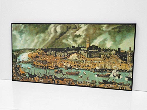 BaikalGallery Vista DE Sevilla hacia 1570 ATRIBUIDO A Alonso SÁNCHEZ COELLO - Cuadro Enmarcado –(P2345) (40x80cm)