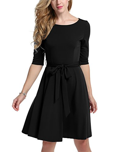 trudge Damen Sommerkleid A Linie Vintage Blumen Skaterkleid Swing Festlich Kleid Schleife Kurzarm Blusenkleid mit Gürtel Frühling Sommer
