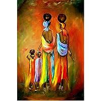 抽象色油絵女性と子供キャンバス絵画リビングルーム家の壁の装飾寝室の装飾浴室の装飾キャンバスに印刷60x80cmフレームなし