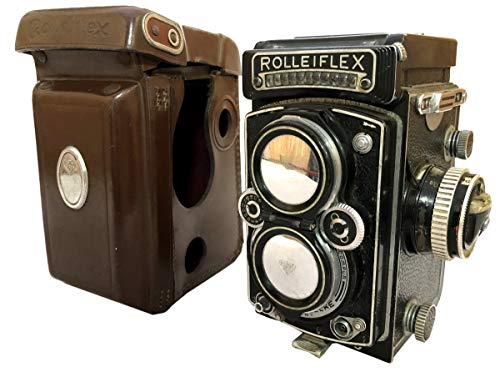 Antiques World Vintage ROLLEIFLEX 3.5 CZEISS PLANAR 1:3.5/75mm Lens TLR f=75mm Old Camera Meter Photo w CASE & Cap AWUSAAC 08
