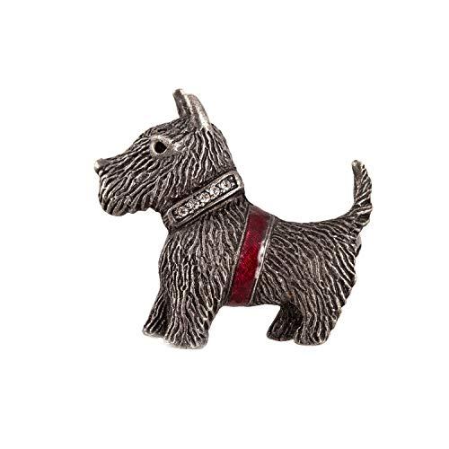 Brosche Hund Terrier Emaille Kristalle Messing Anstecknadel 3,5 x 3,5 cm