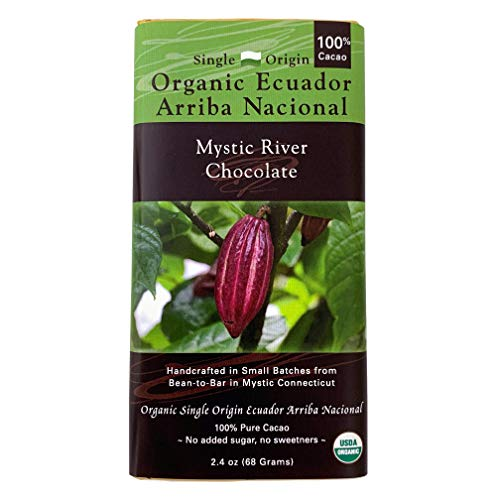 Mystic River Chocolate Organic 100% Cacao Single Origin Ecuador Arriba Nacional Chocolate Bar
