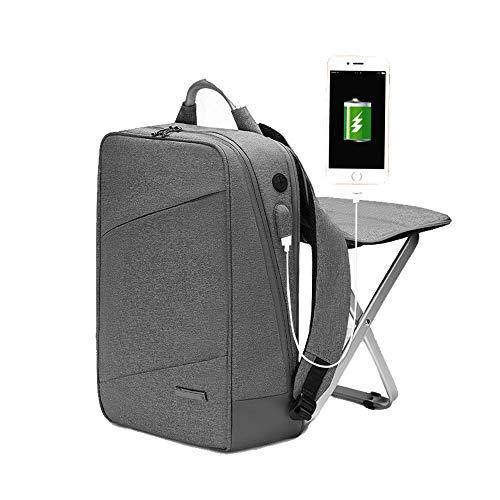 HYRL Business Sac à Dos Double Sac à bandoulière Chaise intégrée, Mode Tendance Sac Grande capacité 15,6 Loisirs Ordinateur Sac,Gray