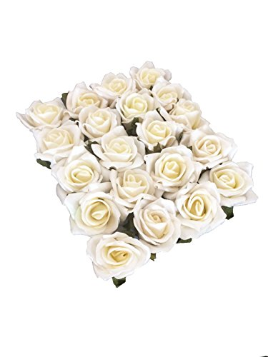 20x Schaumrosen Schaumköpfe Foamrosen Künstliche Blume Brautstrauß Party Hause Dekor Rosen Rosenköpfe - Creme