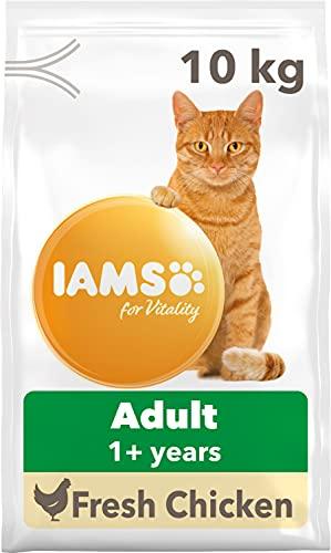 IAMS - Croquettes Premium pour Chats adultes Enrichies en Prébiotiques, Omega 3, Vitamines et Minéraux - Alimentation Complète et Equilibrée - Riche en Poulet Roti - 10 kg