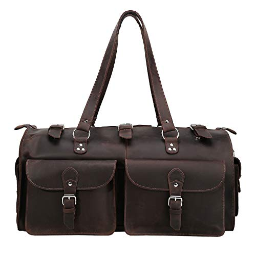 Polare 22 Indiana Jones Looking Natural Full Grain Leather Weekender Carry On Duffle Duffel Bag For Men