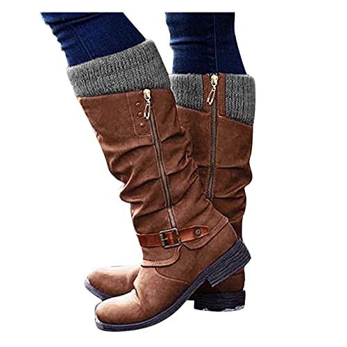 Dasongff Damen Overknee Stiefel Stiefeletten Lässige Warme Gefüttert Winter Langschaft Boots Reitstiefel Niedrige Lange Stiefel mit Absatz Beiläufige Schnalle Winterschuhe Reißverschluss Schuhe