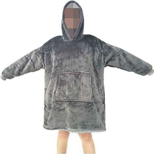 YEPLINS Pullover Sweatshirt Mit Kapuze Robe Decke Hoodie Decke Sweatshirt Flanell Hoodies (Grau)