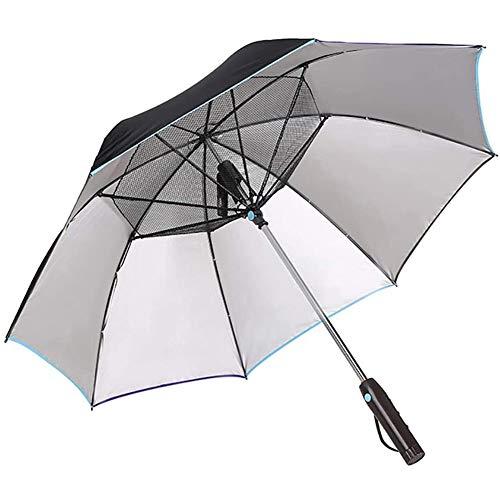 LHDQ Anti-UV Sonnenschirm Golf Regenschirme mit Ventilator, Sommersonnenschutz Kühlung Ventilator Regenschirm, Multifunktions-8-Knochen-Handbuch Regenschirm, Regenschirm Falten,C